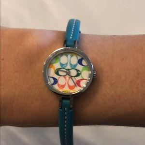 COACH MultiColor MiniFace Teal Leather Band Watch